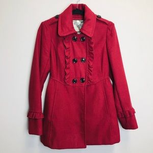 Kensie Red Ruffle Double Breasted Peacoat Med